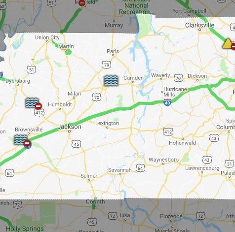 Rain shuts down roadways in three counties