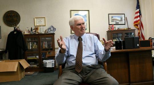 "Retiring Congressman John J. ""Jimmy"" Duncan in his Knoxville office Friday, Oct. 12, 2018."