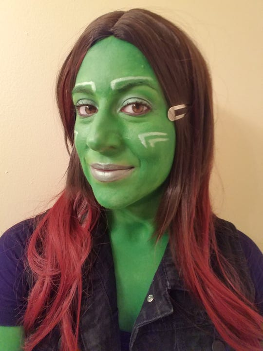"News Sentinel entertainment writer Maggie Jones cosplayed as Gamora from ""Guardians of the Galaxy"" for Knoxville's Fanboy Expo."