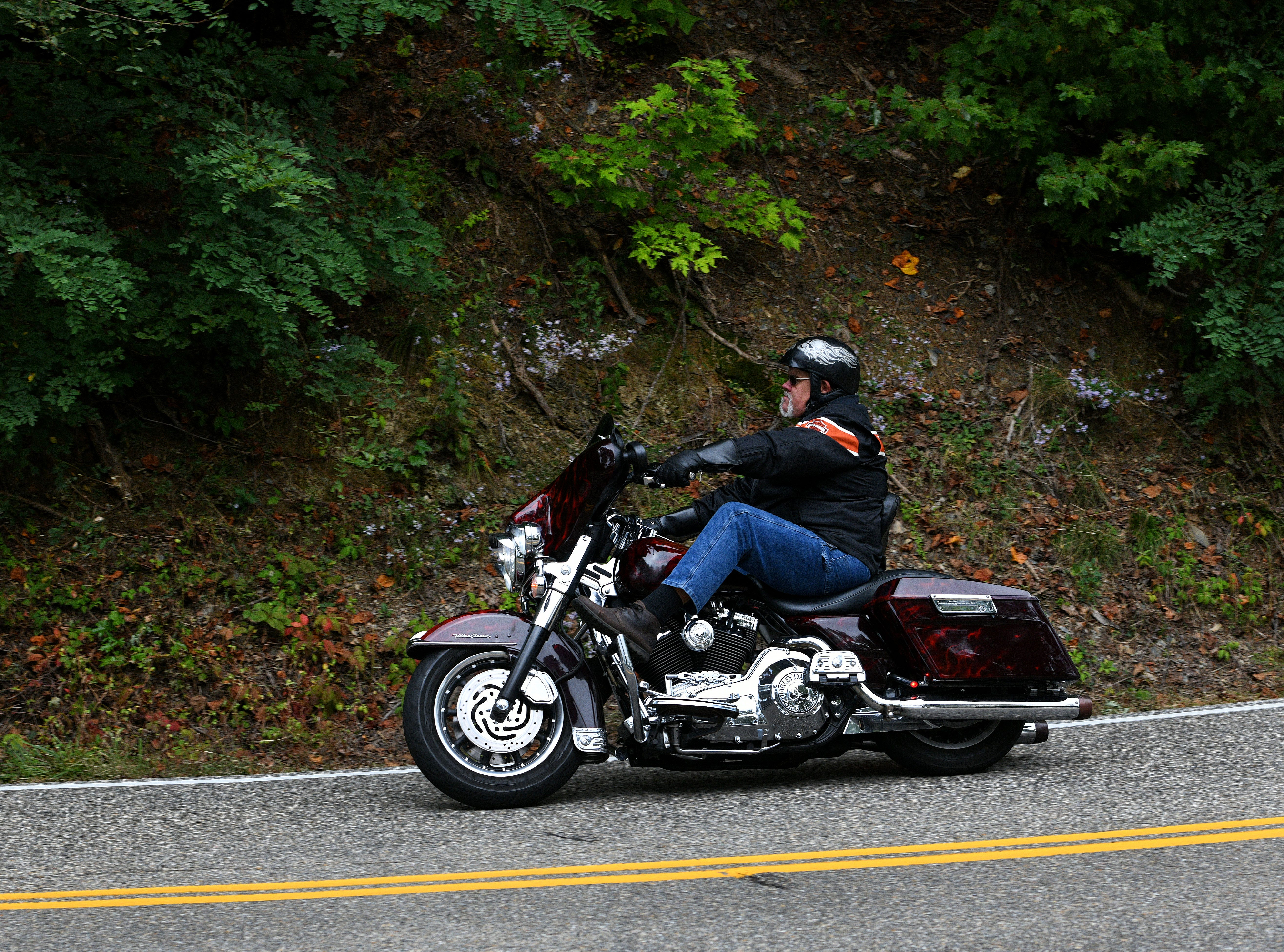 The Dragon is a section of US129 in Tennessee and North Carolina famous for it's 318 curves in 11 miles  Saturday, Oct. 13, 2018. Tourist, motorcycle riders, and car drivers from the area and all over the world take the challenge of the Dragon each year. From Tennessee the Dragon winds its way through the  mountains ending just past the TN/NC state line at Deals Gap.