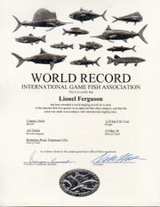 Lionel Ferguson, from Loudon County, was awarded a world record after catching a 5 pound, 7 ounce black crappie.
