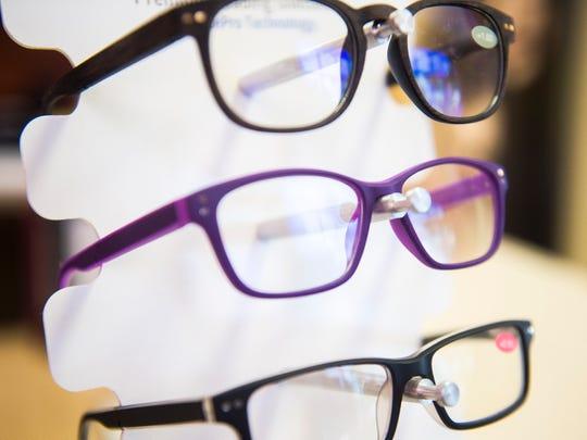 Blue light-blocking glasses on display at Hardin Valley Eyecare & Optical on Thursday, October 11, 2018.