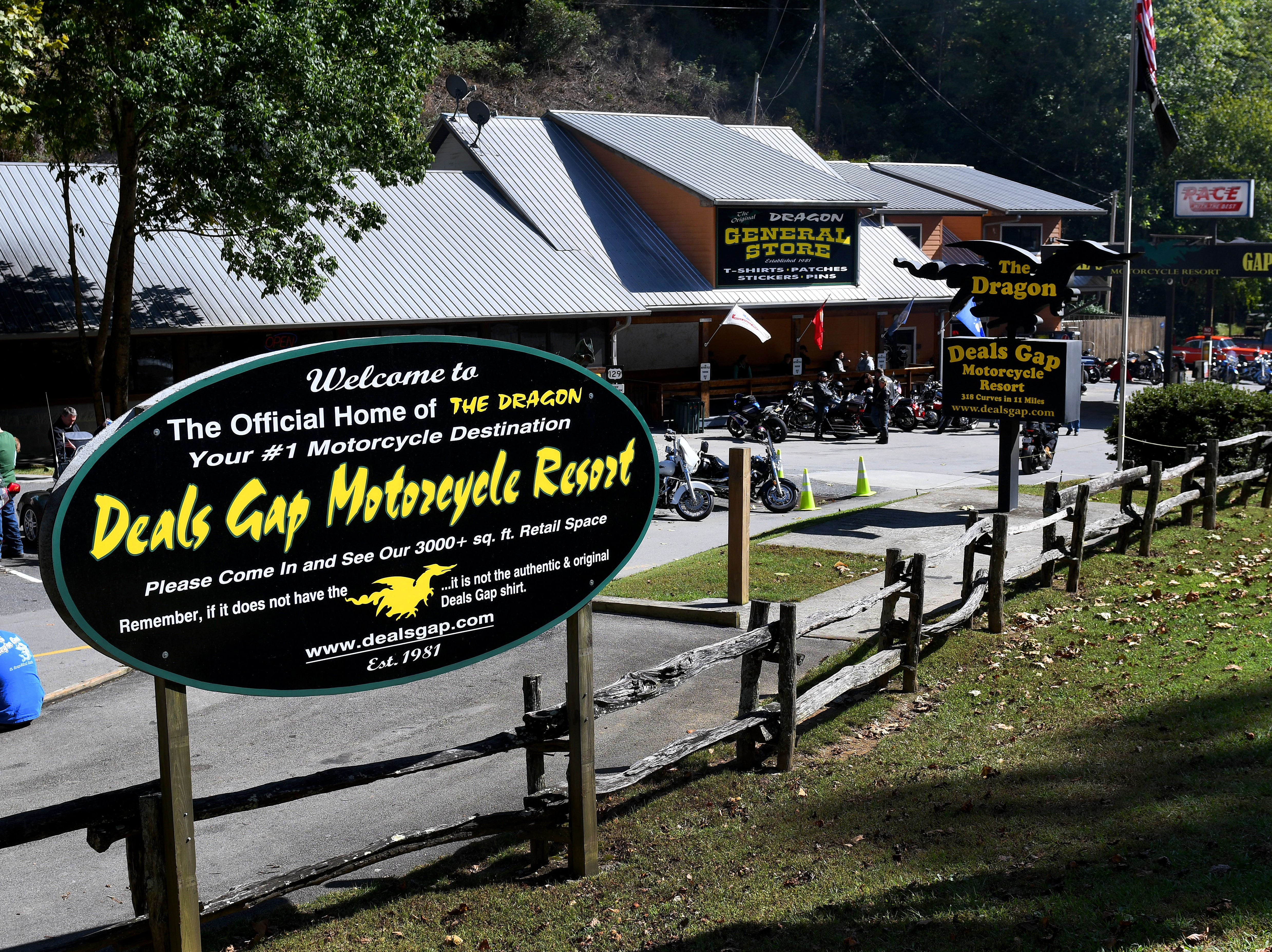 Deals Gap Motorcycle Resort at Deals Gap, NC is the turn around point for many riding or driving the Dragon  Saturday, Oct. 13, 2018. Deals Gap is the only place where you can get gas, food, and lodging on the Dragon. The Dragon is a section of US129 in Tennessee and North Carolina famous for it's 318 curves in 11 miles.
