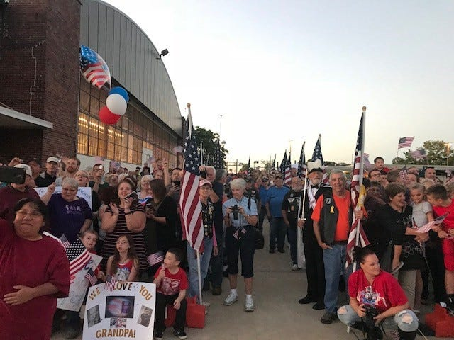 A crowd of 400 people greeted the Honor Flight that landed on September 11, 2018.