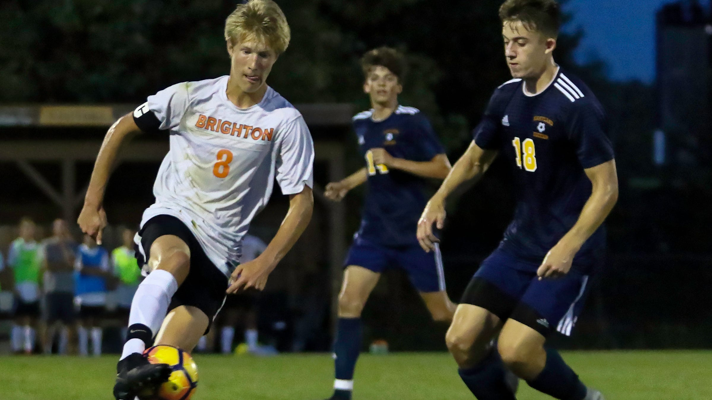 Charlie Sharp (8) and his Brighton teammates and Logan White (18) and his Hartland teammates will play in the soccer district at Lakeland.