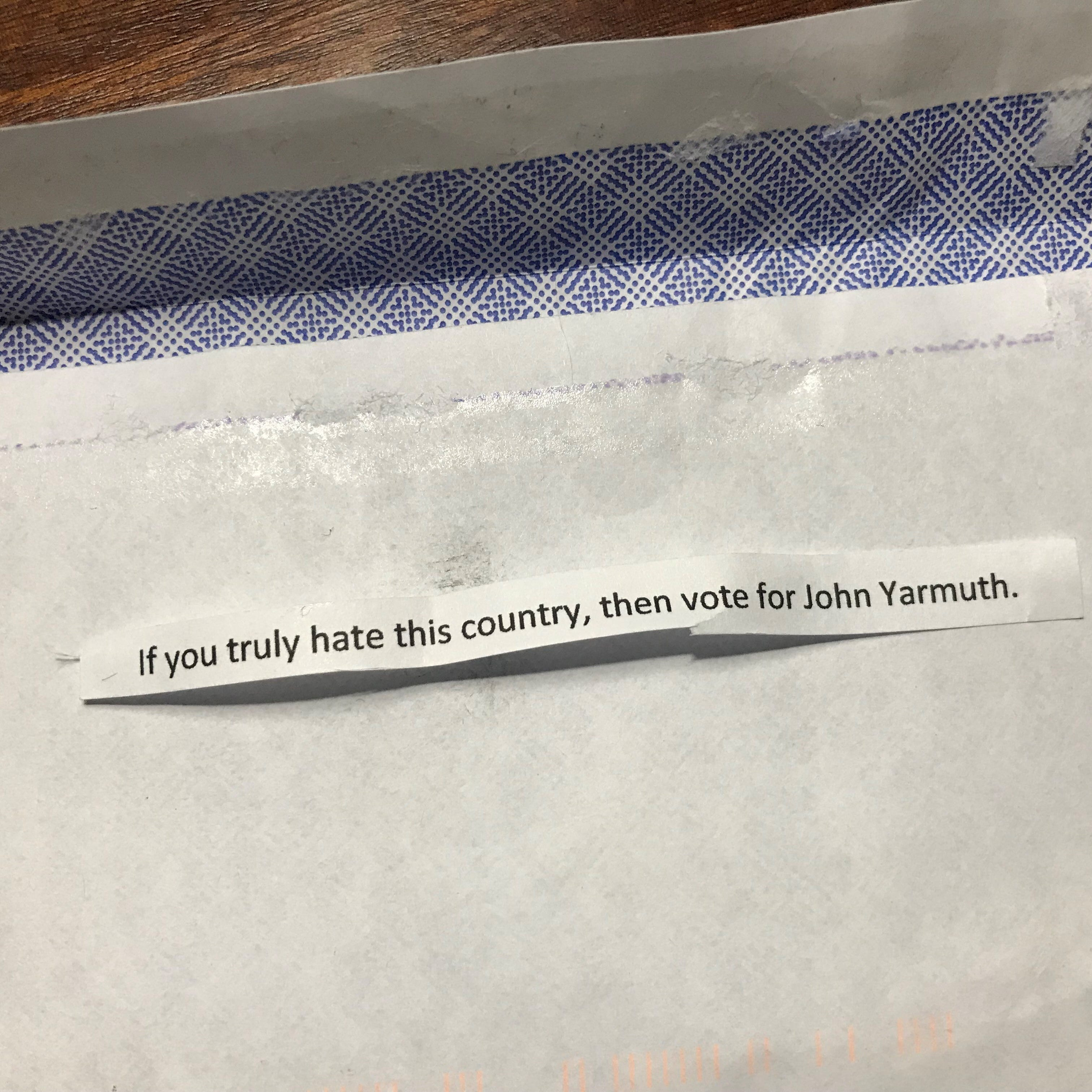Residents on Rudy Lane in Louisville reported getting this letter in the mail urging them against voting for Democratic Rep. John Yarmuth who is running for re-election to represent Kentucky's Third Congressional District.