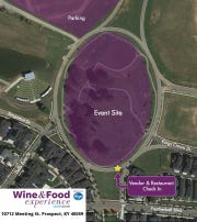 Parking map for the Courier Journal Wine & Food Experience presented by Kroger, taking place Saturday at Norton Commons.