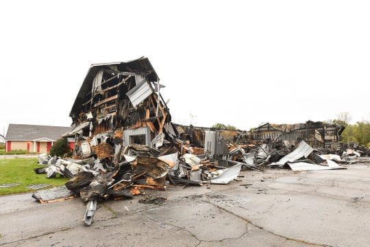 The aftermath of an Oct. 14,, 2018 fire at Building Twentyone, a youth center and indoor skate park in Mason.