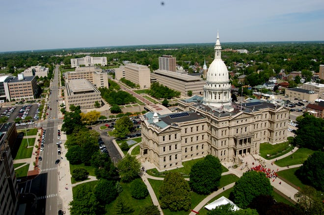 A view of the Michigan Capitol as seen from the top of Boji Tower.