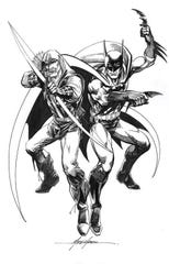 Green Arrow meets Batman in a drawing by Memphis Comic Expo guest Mike Grell.