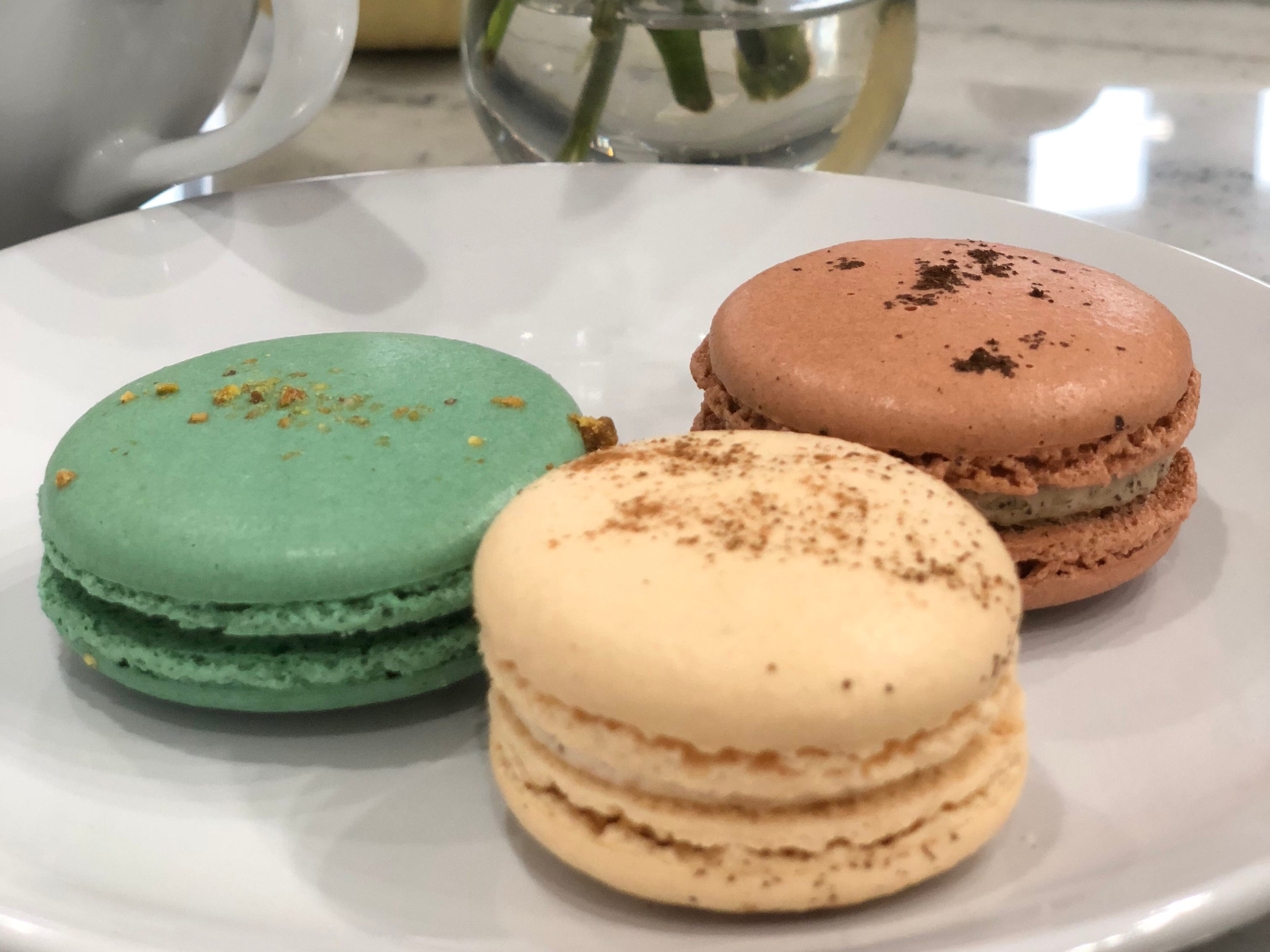 French macarons in Pistachio, Mocha and French Toast at 17 Berkshire in Overton Square.