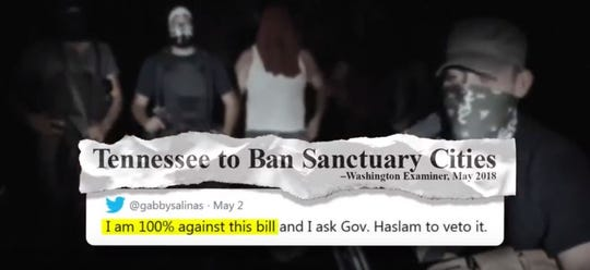This screen grab of masked men comes from an anti-Gabby Salinas ad paid for by a statewide Republican group.