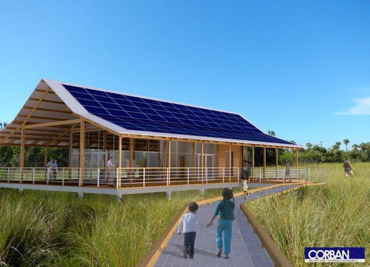 An architect's rendering shows where a new interpretive pavilion will lead to the boardwalk. The Fakahatchee Strand State Park boardwalk is getting a $1.3 million makeover, with improved parking and facilities, and a new aerial walkway to give visitors a look at the forest canopy.