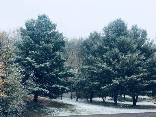 The Rice Falls recorded measurable snowfall on Sunday.