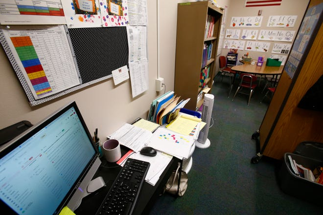 Voters in Cedarburg approved a $58.9 million referendum Tuesday to renovate and build new facilities in the Cedarburg School District. An increase in enrollment has forced schools to convert some spaces, such as this former storage room at Thorson Elementary School, into classrooms and workstations.