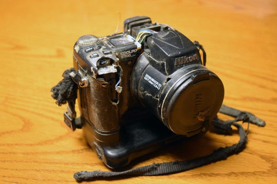 This Nikon camera was lost by Nathan and Susan James of Racine while hiking in the Montana wilderness in 2012. It was found this summer by Dave and Renee Pauly of New Berlin. The camera is ruined, but the photos inside survived and led the Paulys to the owners.