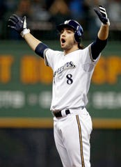 Ryan Braun leads off the sixth inning with a double and would later score the go ahead run. The Milwaukee Brewers and the Arizona Diamondbacks play game 5 of the NLDS at Miller Park Friday October 7, 2011.