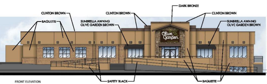 An artist rendering of the Olive Garden, 4760 S. 76th St., shows the restaurant being a darker color and with an enhanced entrance.