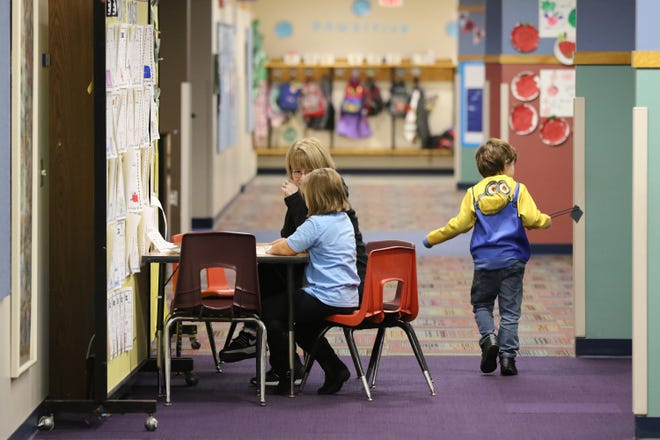 Thorson Elementary School has resorted to creating teaching and storage areas in the hallway in response to the school being at student capacity. More classrooms, a new gymnasium and a renovated main entrance is part of the Cedarburg School District's $59.8 million referendum that will be on the Nov. 6 ballot.