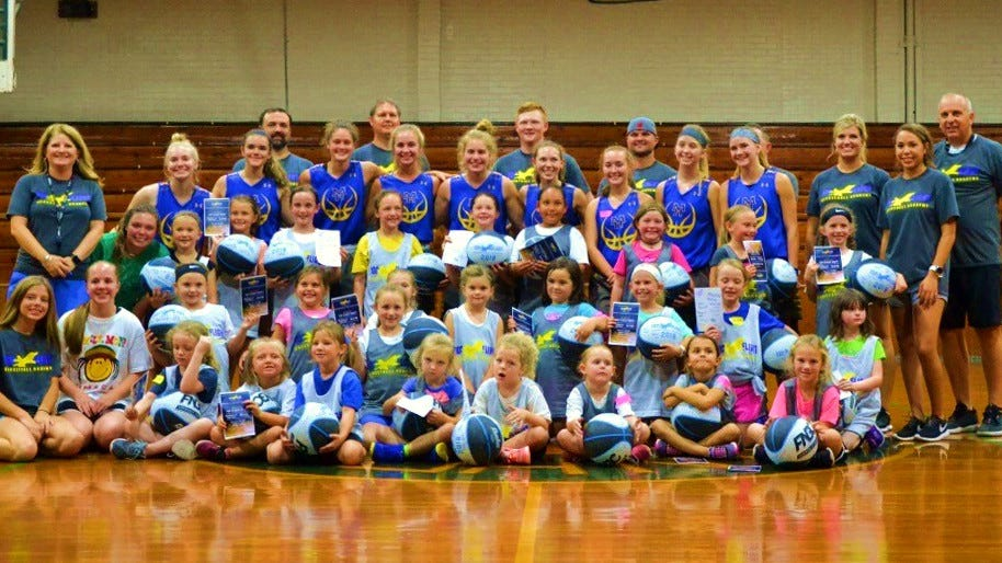 The kindergarten through second-grade portion of the Top Flight Basketball Academy recently wrapped up its fall season. Shown are this year's girls' participants.