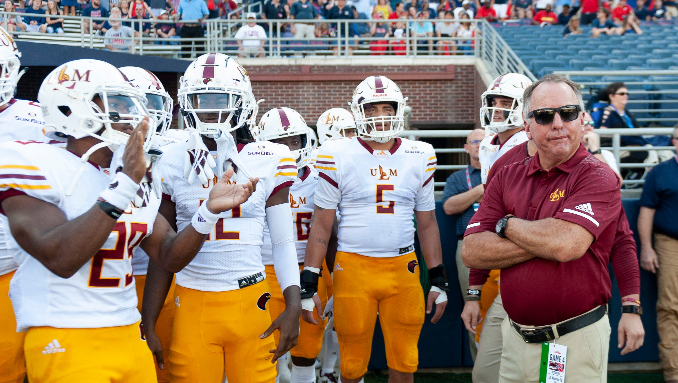 Oct 6, 2018; Oxford, MS, USA;  Louisiana Monroe Warhawks head coach Matt Viator at right waits to lead his team onto the field to face the Mississippi Rebels before the first half at Vaught-Hemingway Stadium. Mandatory Credit: Vasha Hunt-USA TODAY Sports