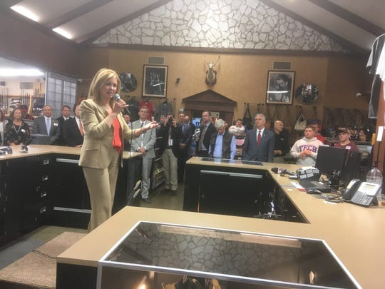 Republican U.S. Senate candidate Marsha Blackburn speaks to about 100 supporters gathered at the Outpost Armory gun shop off Instate 24 in the Christiana community in southeast Rutherford County.