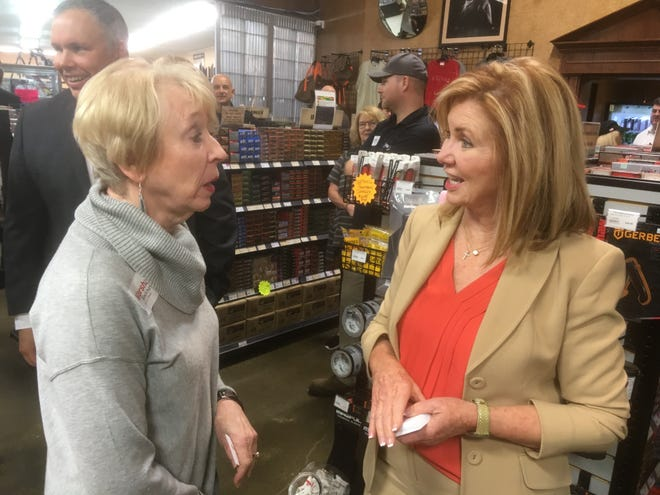 Republican U.S. Senate candidate Marsha Blackburn talks to a supporter at the Outpost Armory off Instate 24 in the Christiana community in southeast Rutherford County.