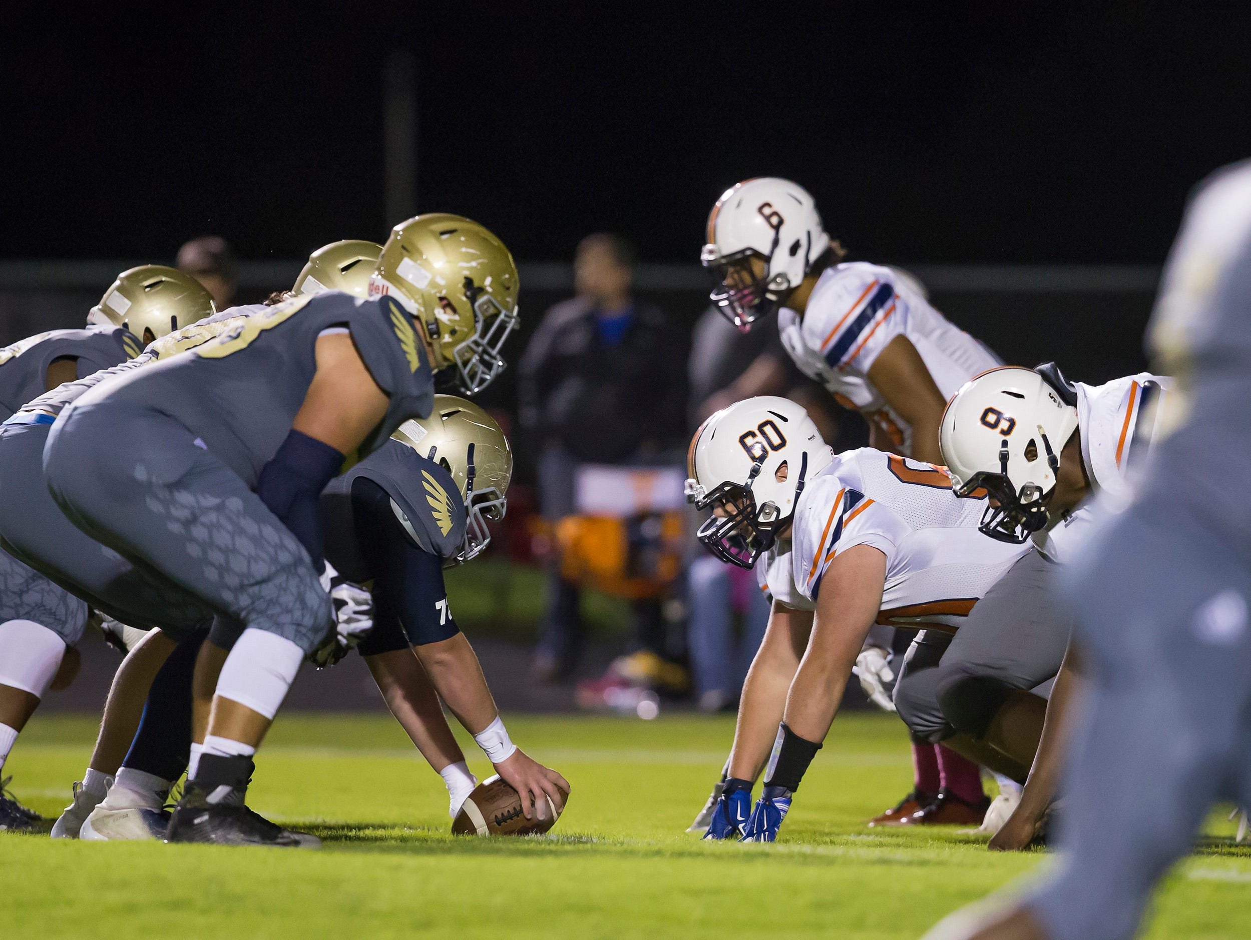 Dickson County's defense lined up to take on Independence's offense For Independence's homecoming.