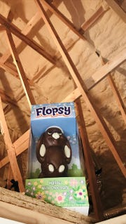 Parkside Homes placed Flopsy, the chocolate bunny, in the attic to demonstrate how well its houses are insulated.