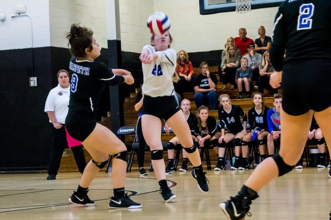 Harpeth senior Addison Beshears with the return in a loss to Loretto in a Class A sectional.