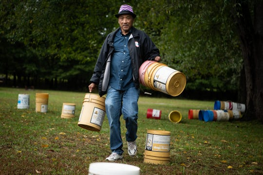 Ray Emanuel, director of the Native American Indian Association, works on setting up at Long Hunter State Park in Nashville Monday. The Native American Indian Association is having its annual Pow Wow and Fall Festival Oct. 19-21, which draws thousands to the park.