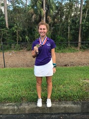 St. John Neumann High School's Sophie Shrader shot a 79 to win medalist honors in the Class 1A-District 18 tournament at Hideout Golf Club on Monday.