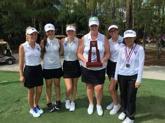The Community School of Naples won its fourth straight 1A-District 18 title Monday at Hideout Golf Club. From left: Tia Flanagan, Katherine Carr, Olivia Weiss, Coach Kristine Connell, Oliviah Street and Tiffany Sheng.