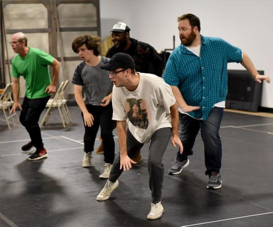 """Todd Covert, LaRon Lee Hudson, Joe Gallagher, Michael Ruehrmund, and Riley Alexander rehearse the finale number of the Weathervane's production of """"Full Monty"""". The show, based on the cult hit film of the same name, opens on Thursday, October 18th."""