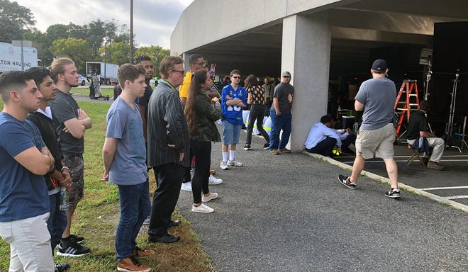 """A production crew for NBC's """"The Enemy Within"""" filmed at Bergen's main campus last week. Students had the opportunity to observe the shoot."""
