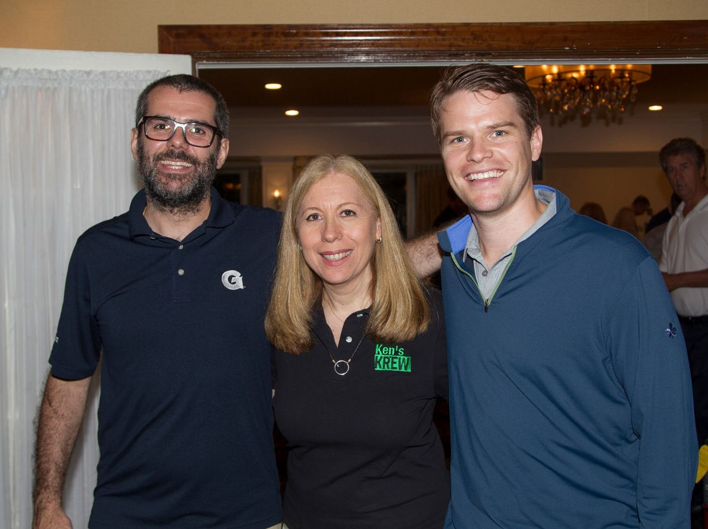 Matteo Gallo, Suzy Goldberger, Ryab O'Donnell. Ken's Krew Golf Outing at White Beeches Country Club in Haworth. Ken's Krew provides vocational training and job placement services for young adults with intellectual and developmental disabilities. 10/09/2018