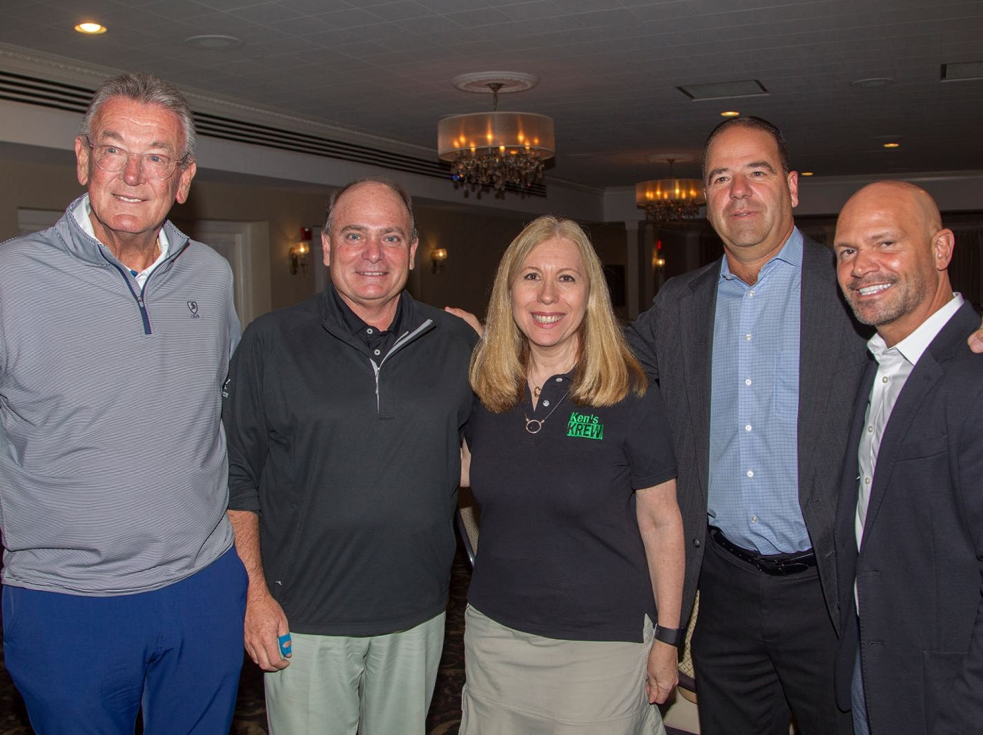Kevin Hall, Tom Cautle, Suzy Goldberger, Tony Lemma, Paul Lunholm. Ken's Krew Golf Outing at White Beeches Country Club in Haworth. Ken's Krew provides vocational training and job placement services for young adults with intellectual and developmental disabilities. 10/09/2018