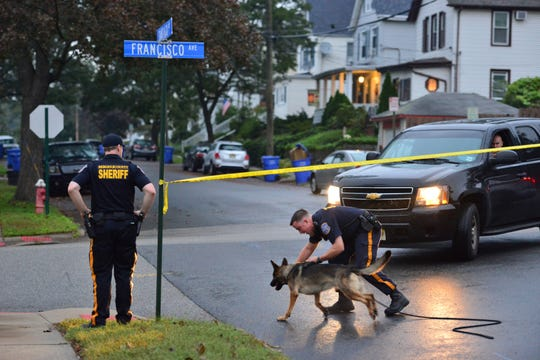 Heavy police presence after a report of a slashing on Santiago Ave in Rutherford on Monday morning October 15, 2018.
