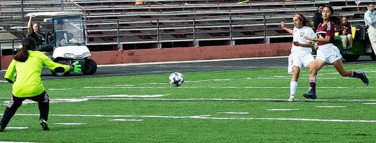 Moving the ball down the right side of the field, Alamogordo Lady Tiger Sydney Dorchester will score the first of her two goals in the Tigers 8-1 win against the Gadsden Lady Panthers. Other contributors were Shawna Williams with three goals, and Arianna Torres and Janae Shaklee with one goal each piece. In a home conference game, the Lady Tigers (9-8, 5-4) next opponent will be the Oñate Lady Knights (4-8, 2-5) Tuesday, Oct. 16, at 7 p.m.