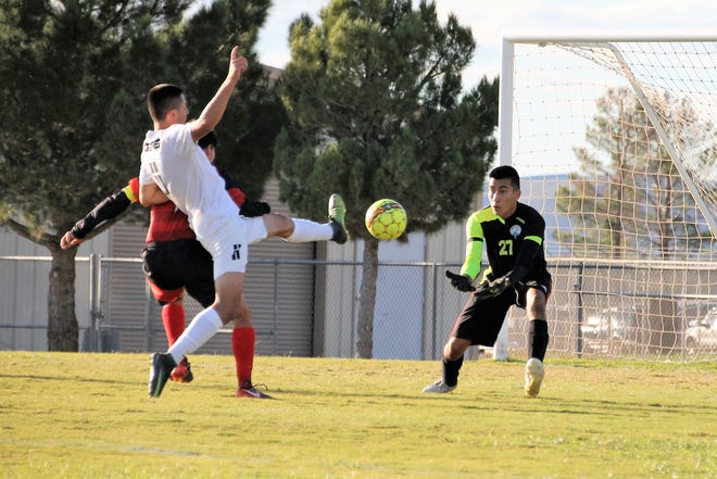 Julian Torres comes close to scoring in the first half of the game against the Centennial Hawks in Las Cruces Oct. 9.   Alamogordo won the game 1 to 0.