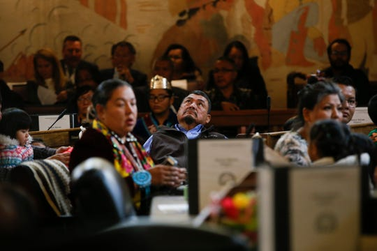 Shiprock Council Delegate Tom Chee, center, listens to speeches and presentations during the first day of 23rd Navajo Nation Council meeting Monday at the Navajo Nation Council Chamber in Window Rock, Arizona.
