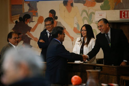 Navajo Nation President Russell Begaye shakes hands with members of the gallery before delivering his State of the Nation Address to members of the 23rd Navajo Nation Council Monday during the first day of the Fall Session at the Navajo Nation Council Chamber in Window Rock, Arizona.