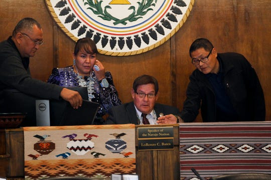 At center, Navajo Nation Council Delegate Speaker LoRenzo Bates oversees the first day of the 23rd Navajo Nation Council's Fall Session on Monday at the Navajo Nation Council Chamber in Window Rock, Arizona.