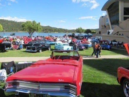The back lawn bordering Mescalero Lake at the inn of the mountain Gods  was loaded with vehicles of all ages, restored and waxed to perfection.
