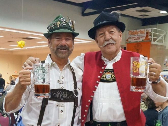Friends celebrating all that is German at the Ruidoso Oktoberfest.