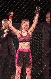 Charity LaBuy, 21, has a 2-1 record in MMA fighting. In her first ever fight, despite nerves, she told her coach she wasn't going to be a punching bag.