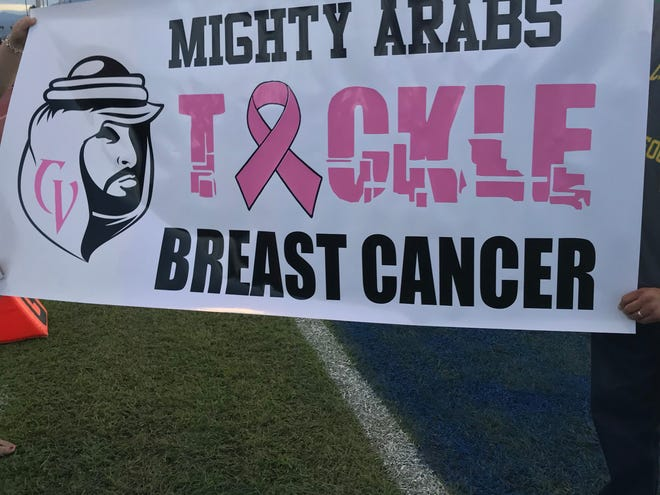 The Coachella Valley Arabs wore pink football uniforms Friday to honors Breast Cancer Awareness month.