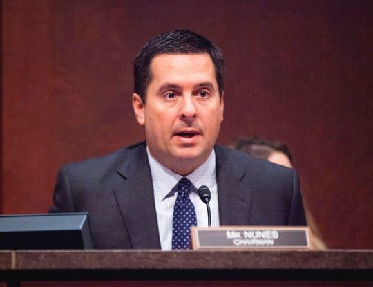 House intelligence committee member Rep. Devin Nunes, R-Calif. speaks in Washington during a committee hearing.