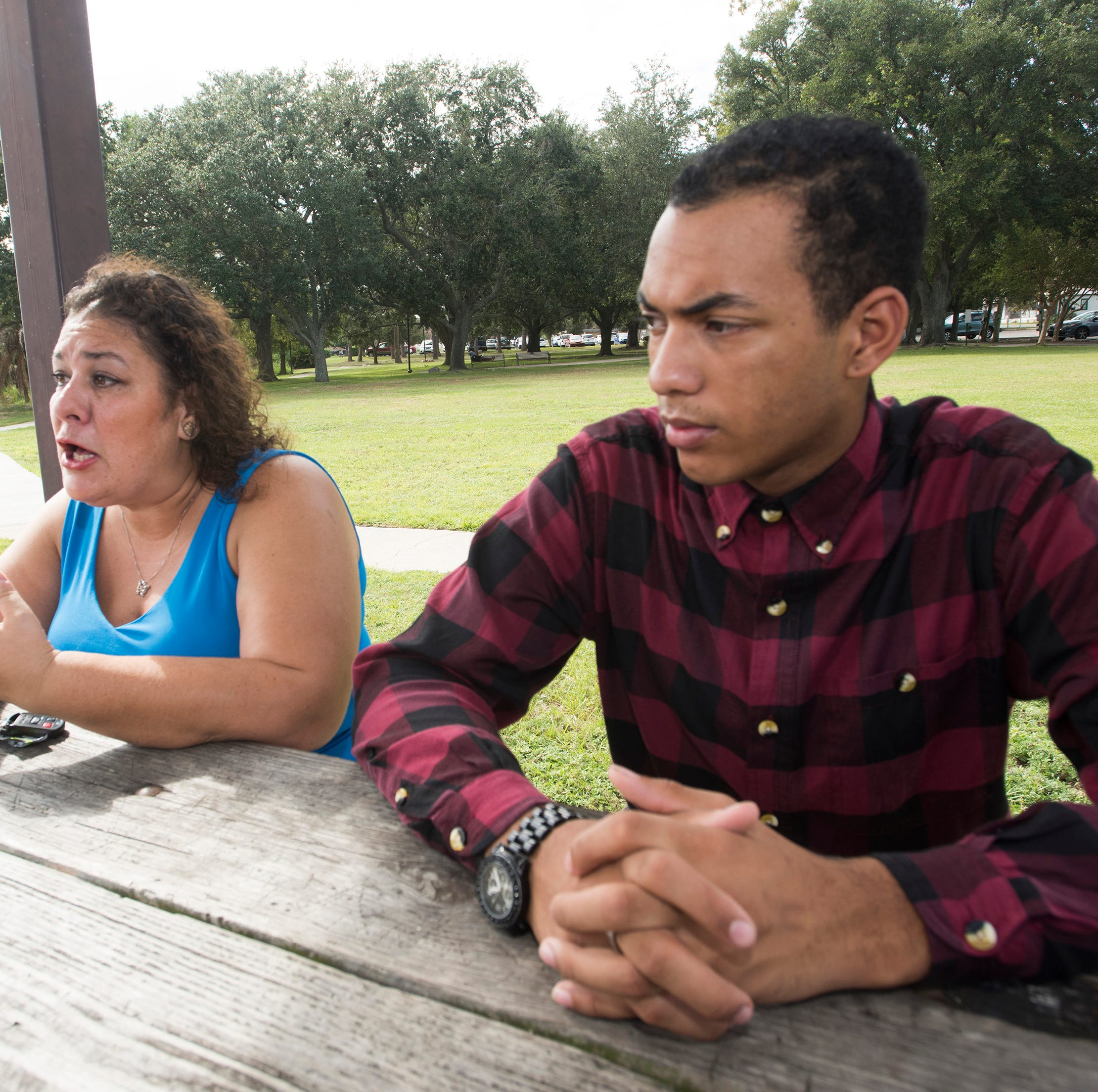 Former Catholic High School sophomore, Jaiden Muniz-Walls, and his mother Diana Muni-Walls are still looking for answers on Monday, Oct. 15, 2018, after bullying incident and physical attack at the high school in late Sept. The attack left Muniz-Walls with injuries to his nose and eye.