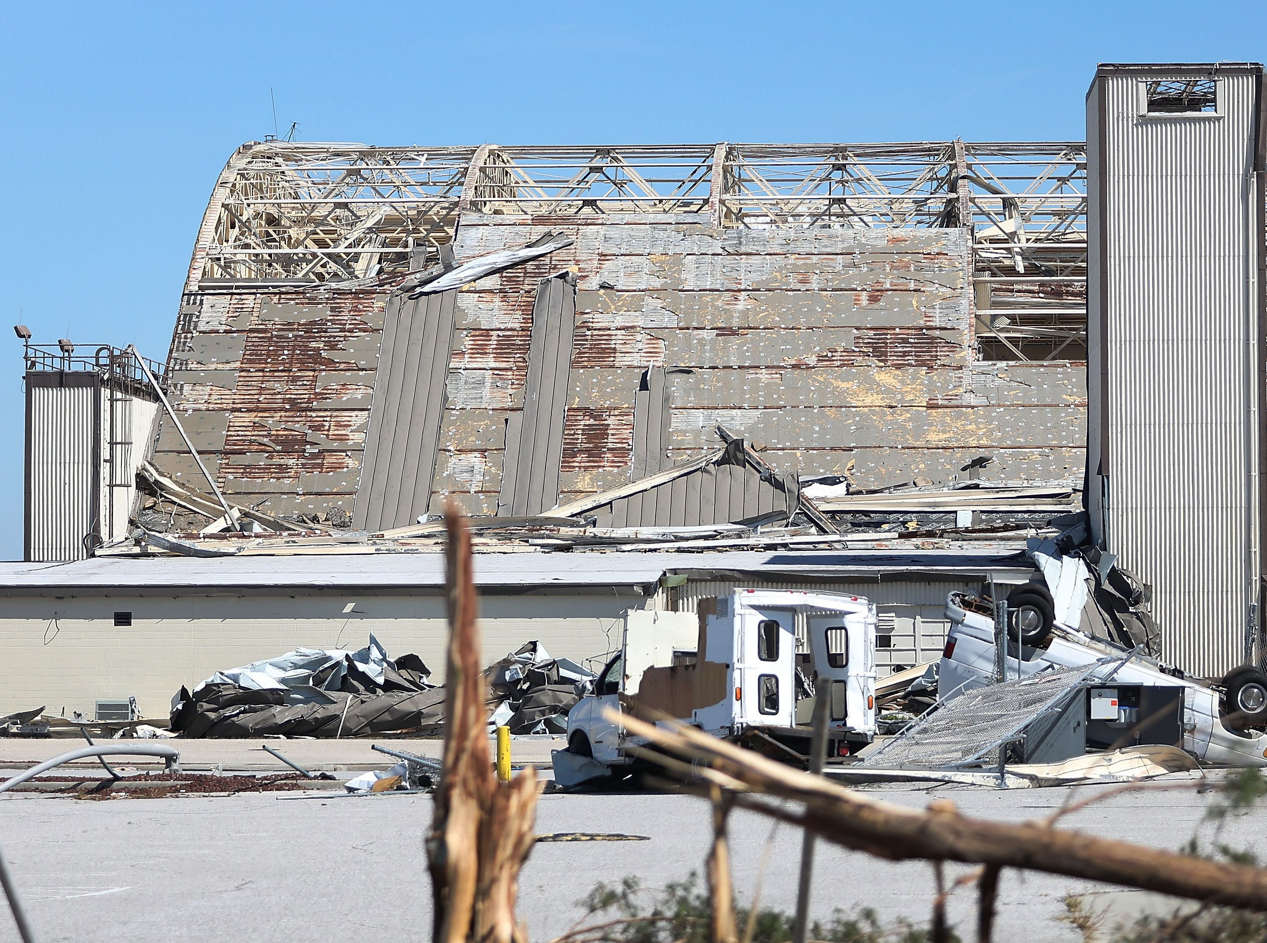 MEXICO BEACH, FL - OCTOBER 12:  A damaged airplane hanger is seen on the grounds of Tyndall Air Force Base  after Hurricane Michael passed through the area on October 12, 2018 in Mexico Beach, Florida. The hurricane hit the panhandle area with category 4 winds causing major damage.  (Photo by Joe Raedle/Getty Images)